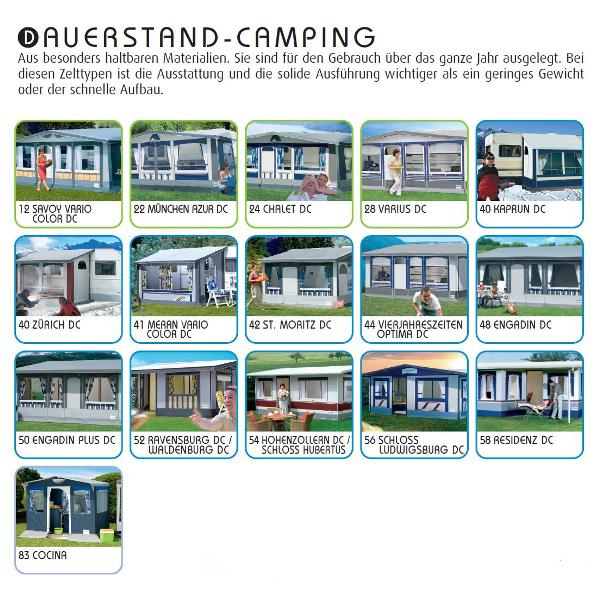 Wohnwagenvorzelte für Dauercamping /  Dauerstandzelte
